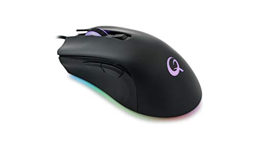 Qpad Pro Gaming Maus, Computermaus für PC, Laptop, Computer, Mac, MacBook, Optical Mouse mit optischem Sensor für FPS Spiele, 12.000 DPI, LED Beleuchtung, kabelgebunden (Wired), USB, Schwarz, DX120