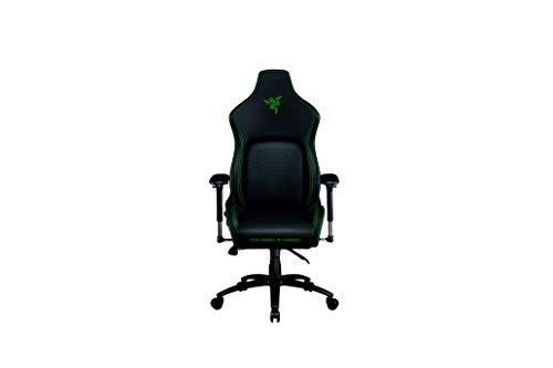 Razer Iskur - Premium Gaming-Stuhl mit integrierter Lendenwirbelstütze (Schreibtischstuhl / Bürostuhl, mehrlagiges Kunstleder, Schaumstoff-Polster, Kopfpolster, Höhenverstellbar) Schwarz - Grün