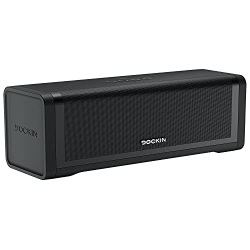 DOCKIN® D FINE 2 Stereo Bluetooth Lautsprecher 50 Watt | Bass Boost Equalizer | Tragbarer Speaker für In-/Outdoor - Portable, Wireless, koppelbar | 12h Akku mit 7.500 mAh Powerbank, aptx, wasserfest
