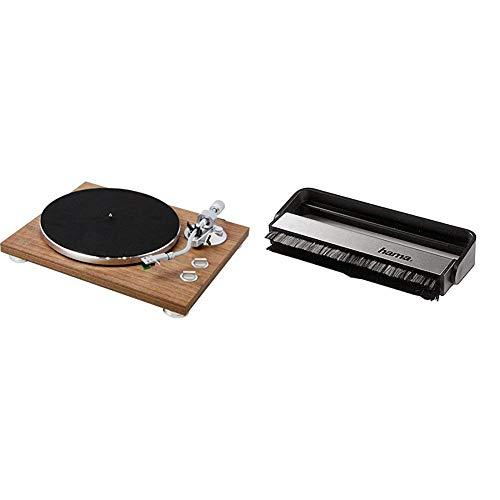 Teac TN-400BT HiFi-Plattenspieler (Schallplattenspieler, Riemenantrieb, DREI Abspielgeschwindigkeiten 33/45/78rpm) Walnuss & Hama Carbon-Faserbürste für Langspielplatten, schwarz/Silber