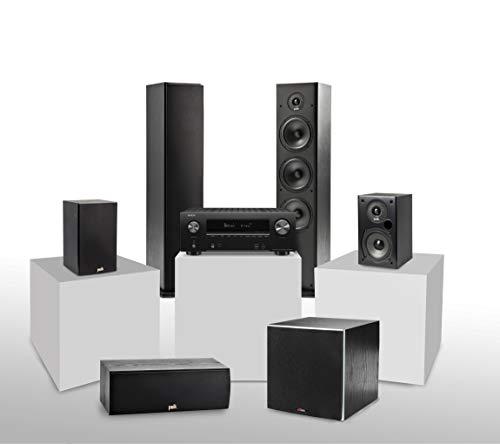 Denon AVR-X2600H 5.1 Heimkinosystem mit Polk T-Serie Lautsprechern und PSW10E Aktivsubwoofer, AV Receiver mit HEOS Built-in, WLAN, Bluetooth, AirPlay 2, Alexa kompatibel