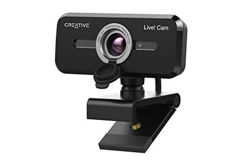 Creative Live! Cam Sync 1080p V2 Full HD-Weitwinkel-USB-Webcam mit automatischer Stummschaltung und Rauschunterdrückung für Videogespräche, verbessertes integriertes Dual-Mikrofon, für Zoom, Skype