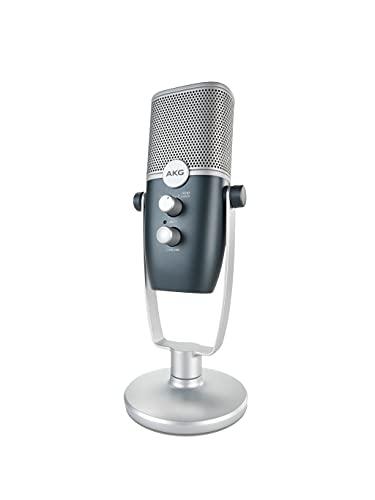 AKG Pro Audio Ara Professionelles USB-C Kondensatormikrofon, Dual Pattern Audio Capture Modes für Podcasting, Video Blogging, Gaming und Streaming, Blau & Silber