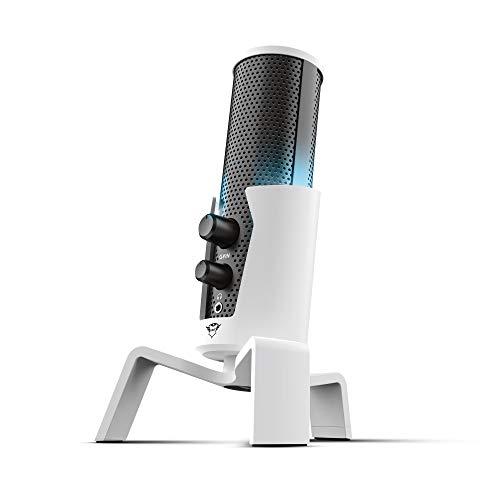 Trust Gaming 4-in-1-USB Streaming Mikrofon für PlayStation 5 (PS5) GXT 258W Fyru, 4 Aufnahmecharakteristika, Einstellbare LED-Beleuchtung PC, PS4 - Weiß