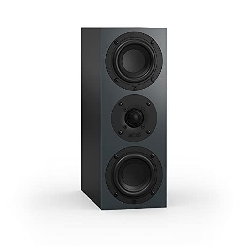 Nubert nuBoxx B-50 | Centerlautsprecher Schwarz/Grau | 1 Stück Passivbox | Lautsprecher für Heimkino und klare Stimmen | Lowboardlautsprecher mit 2 Wege Technik | Centerspeaker für Fernsehen