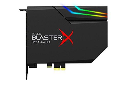 Sound BlasterX AE-5 Hi-Resolution PCIe Gaming Soundkarte, DAC/Kopfhörerverstärker (bis 600 OHM) mit RGB-LED Streifen für Computer/Gaming PC Schwarz
