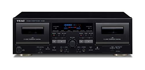 Teac W-1200(B) Doppelkassettendeck (Kassettenspieler, Aufnahme/Wiedergabe, Mikrofoneingang für Karaoke und Ansagen, USB-Ausgang für digitale Aufnahme auf PC/Mac, Konferenzprotokolle), Schwarz