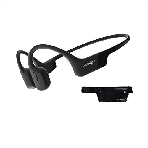 AfterShokz Aeropex Open Ear Wireless Bone Conduction Kopfhörer mit Sportgürtel, Cosmic Black