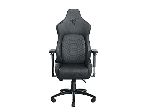 Razer Iskur (Fabric) - Premium Gaming Chair with Integrated Lumbar Support (Desk Chair/Office Chair, Multi-Layer Synthetic Leather, Foam Padding, Head Pad, Height Adjustable) Black & Green, Standard