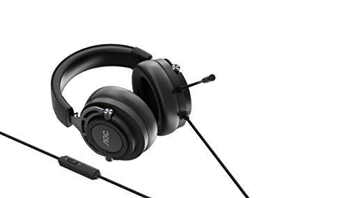 AOC GH200 - Over-Ear Gaming-Headset mit Stereoklang, 3,5-mm-Audioanschluss und Mikrofon, schwarz