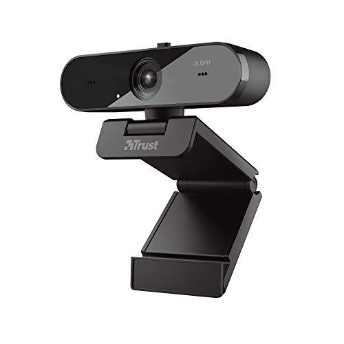 Trust 24228 Taxon QHD Webcam mit 2 Mikrofone für PC/Mac, 2560x1440, 2K, 1440p, 30 FPS, Blickschutzfilter, Autofokus, Streaming, Zoom, Skype, Teams, Google Meet