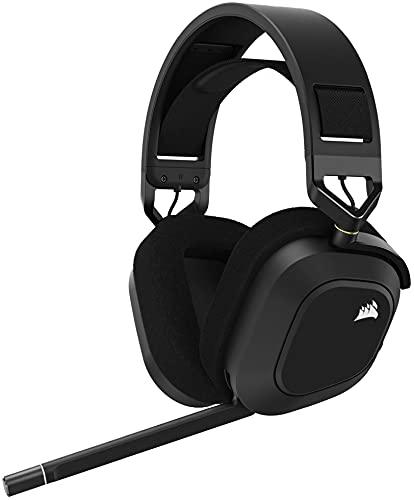 Corsair HS80 RGB WIRELESS Premium-Gaming-Headset mit Dolby Atmos (niedrige Latenz, omnidirektionales Mikrofon, 18 m Reichweite, bis zu 20 Stunden Akkulaufzeit, PS5/PS4 Wireless-Kompatibilität) Carbon