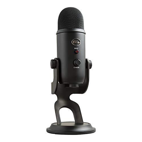 Blue Microphones Yeti USB-Mikrofon (für Aufnahme und Streaming auf PC und Mac, Drei Kondensatorkapseln, Vier Richtcharakteristiken, Kopfhörer-Ausgangs- und Lautstärkesteuerung,Plug und Play) blackout