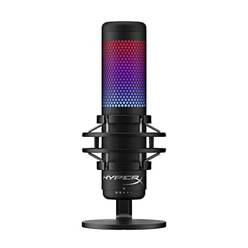 HyperX QuadCast S – RGB USB-Kondensatormikrofon für PC, PS4 und Mac, vibrations-und stoßgeschützt, Poppschutz, Gaming, Streaming, Podcasts, Twitch, YouTube, Discord