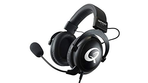 QPAD QH-95 Pro Gaming Premium Headset, Kopfhörer für PC, Playstation 4 PS4, Nintendo Switch, Xbox One, Mobile Geräte, 53 mm Stereo Sound & 7.1 Surround Sound (Computer) mit USB Soundkarte, Schwarz