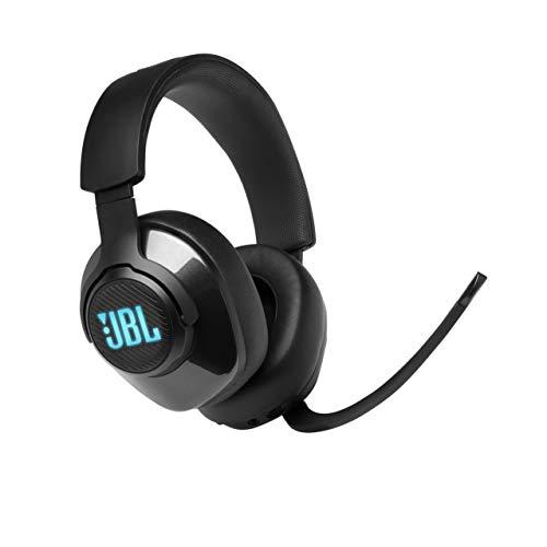 JBL Quantum 400 Over-Ear Gaming Headset – Wired 3,5 mm Klinke und USB – Mit hochklappbarem Boom Mic und QuantumSurround Sound – Schwarz