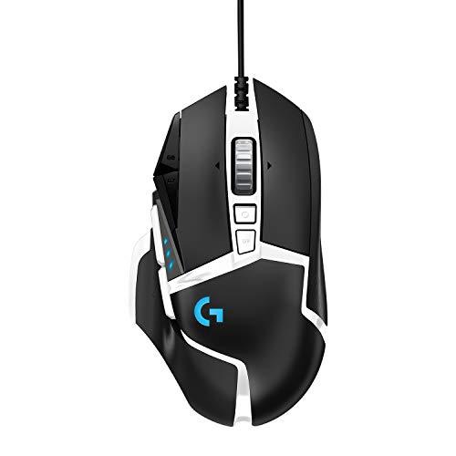 Logitech G502 HERO Gaming-Maus Special Edition mit HERO 25K DPI Sensor, RGB-Beleuchtung, Gewichtstuning, 11 programmierbare Tasten, anpassbare Spielprofile, PC/Mac, Schwarz/Weiß