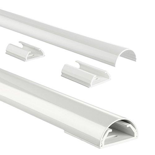 Hama Stabiler Kabelkanal aus Aluminium weiß (1,1 Meter Länge, für 5 Kabel, robuste halbrunde Metall Kabelabdeckung)