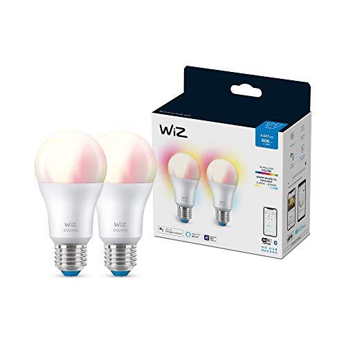 Wiz WiFi und Bluetooth LED Birne Dimmbar Farben A60 60W E27 Pack mit 2 weißen und farbigen Lichtern 2200-6500K 8W (entspricht 60W ), A+