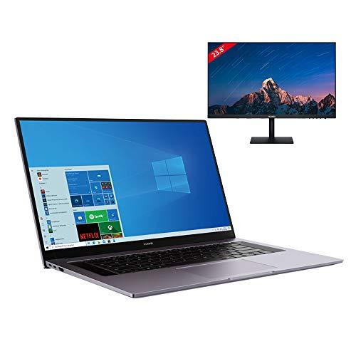 HUAWEI MateBook D 16 Laptop 40,89 cm (16,1') Ultrabook FullView Display, 7 nm AMD Ryzen 4000 H-Series Prozessor, Wi-Fi 6, 16GB+512GB SSD, Windows 10 Home, Space Gray + HUAWEI Display 23,8' dazu