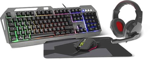 Speedlink LUNERA 4in1 Illuminated Gaming Set – vierteiliges Set, mit Beleuchtung, schwarz, DE Layout
