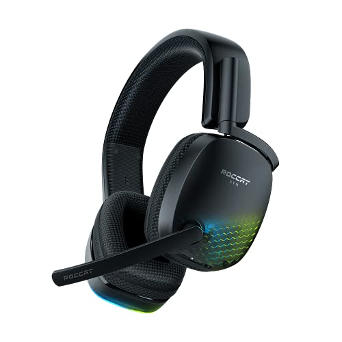 Roccat Syn Pro Air - Kabelloses RGB-Gaming-Headset mit 3D-Audio schwarz anpassbar