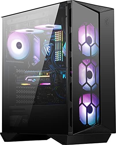 MSI MPG GUNGNIR 110R Mid-Tower ATX Gehäuse (2x USB 3.1 Anschluss, 4x 120mm A-RGB Fan im Lieferumfang, schwarz, RGB)