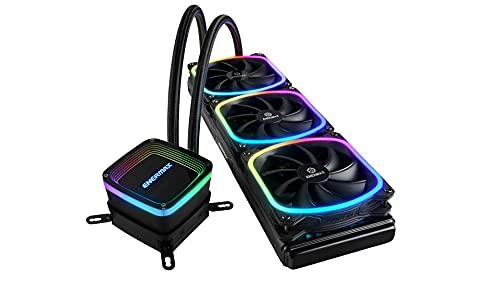 ENERMAX AQUAFUSION Adressierbare SquA RGB 360 All-In-One CPU Wasserkühler Dual Chamber Intel/AMD AM4 Support 350W+ TDP (3X 12cm SquA RGB PWM Lüfter); ELC-AQF360-SQA schwarz