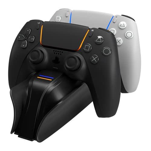 Snakebyte PS5 Twin Charge 5 - schwarz - Playstation 5 Ladestation für DualSense Controller, Ladegerät für 2 Wireless-Controller inklusive Type-C Kabel, LED-Ladestatusanzeige, Play Station 5 Design