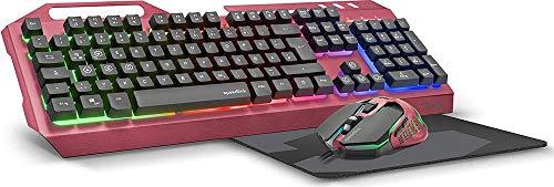 Speedlink TYALO Illuminated Gaming Deskset - Set aus Tastatur, Maus, Mauspad, Beleuchtete Gaming Maus und Tastatur, Deutsches Layout, Berry