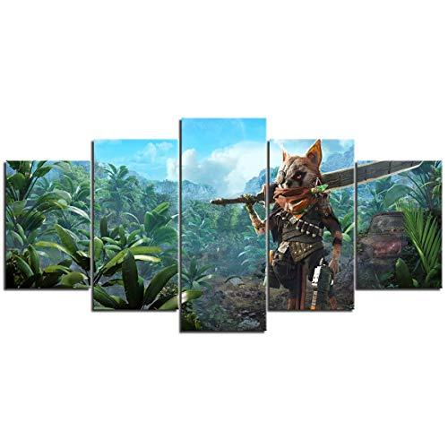 SUGOO Wandbild 5-teilige Leinwand hängen Bilder Biomutant Schlafzimmer Büro usw. Home Decoration Wanddekoration Hintergrundwand Hängende Bilder (ohne Rahmen) 200cm