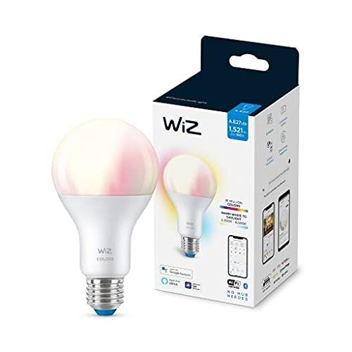 Wiz WLAN-Glühbirne, Bluetooth, LED, dimmbar, A67, 100 W, E27, weißes und farbiges Licht, 2200-6500 K, 13 W (entspricht 100 W), A+