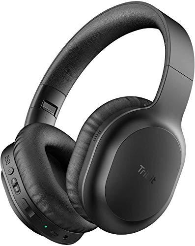 Tribit QuietPlus 50 Bluetooth Kopfhörer, Kopfhörer mit aktiver Lärmunterdrückung, 30 Stunden Spielzeit, Bluetooth 5.0, Hi-Fi-Stereo und weiche Ohrpolster, CVC8.0-Mikrofon, faltbar für Reisen/Heim/Büro