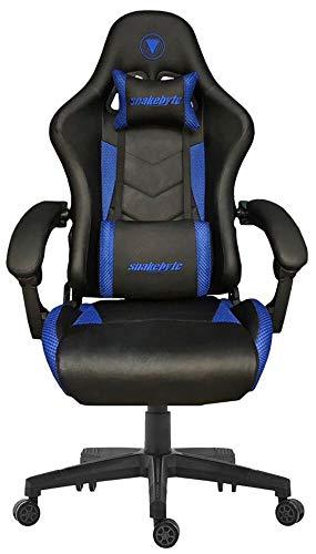 Snakebyte Gaming Seat EVO - schwarz/blau - Gaming Stuhl mit extra gepolsterte Armlehnen, Einstellbarer Neigungswinkel, höhenverstellbarer Schreibtischstuhl, Ergonomischer Stuhl, Chefsessel, Bürostuhl