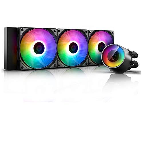 Deepcool Castle 360 Rgb V2 Anti-Leak Heizkörper 360 mm Kühlkörper Rgb Rainbow Addressable 5V Add Rgb 3-Pin kompatibel Intel 115X/2066 und Amd Tr4/Am4