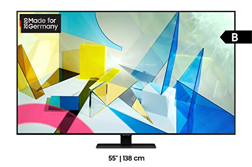 Samsung Q80T 138 cm (55 Zoll) 4K QLED Fernseher (Q HDR, Ultra HD, Dual LED, HDR 10+, Twin Tuner, Smart TV) [Modelljahr 2020]