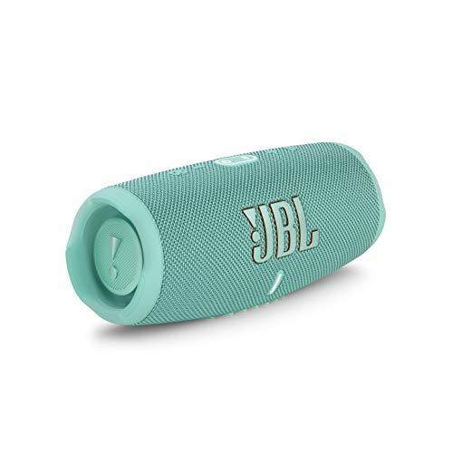 JBL Charge 5 Bluetooth-Lautsprecher in Türkis – Wasserfeste, portable Boombox mit integrierter Powerbank und Stereo Sound – Eine Akku-Ladung für bis zu 20 Stunden kabellosen Musikgenuss