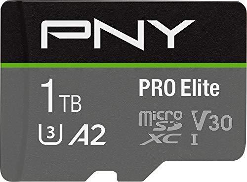 PNY PRO Elite 1TB microSDXC-Speicherkarte + SD-Adapter mit A2 App Performance + 100MB/s Lesegeschwindigkeit, Klasse 10 UHS-I, U3, V30 für 4K-Video
