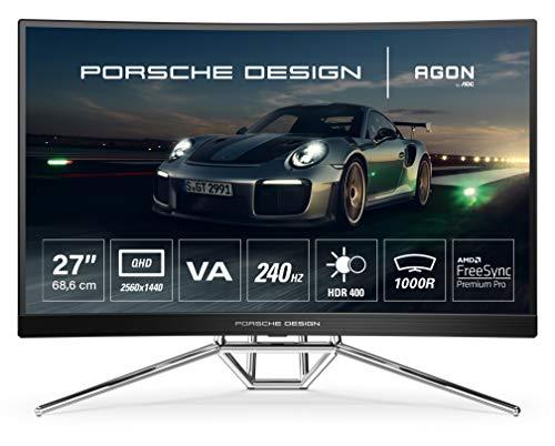 AOC AGON Porsche PD27 - 27 Zoll QHD Curved Gaming Monitor, 240 Hz, 0.5ms, HDR400, FreeSync Premium Pro (2560x1440, HDMI, DiplayPort, USB Hub) schwarz