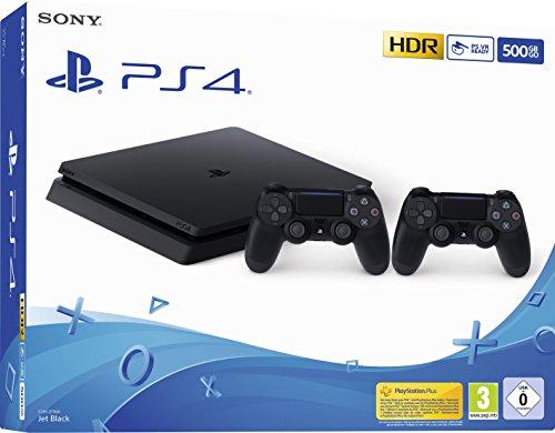 PlayStation 4 - Konsole (500 GB, schwarz, slim, F-Chassis) + zweiter DualShock 4 Controller