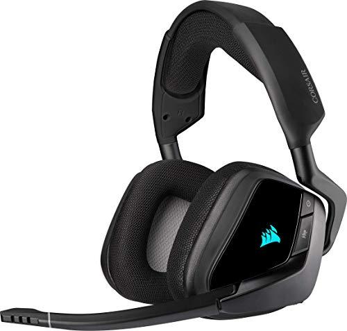 Corsair Void Elite RGB Wireless Gaming Headset (7.1 Surround Sound, Ultraniedrige Latenz, 12 Meter Reichweite, Omnidirektionales Mikrofon, iCUE RGB-Beleuchtung, für PC und PS4) carbon