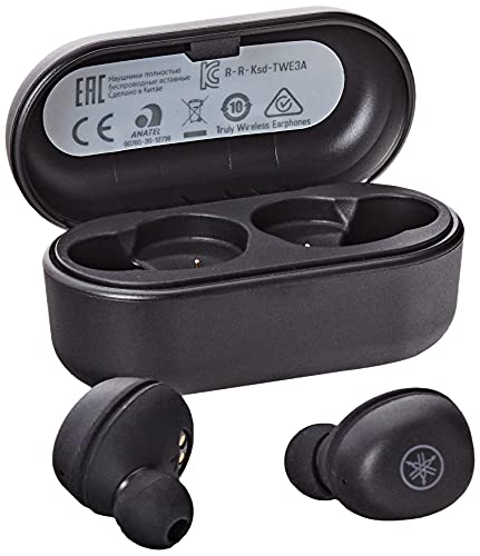 Yamaha TW-E3A Bluetooth-Kopfhörer – Kabellose In-Ear-Kopfhörer in schwarz – 6 Stunden Wiedergabezeit mit einer Ladung – Wasserdicht (IPX5 Zertifizierung) – Inkl. Ladecase