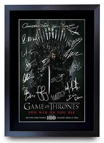 HWC Trading Game of Thrones The Cast Gifts gedrucktes Autogramm für TV-Fans, A3 gerahmt
