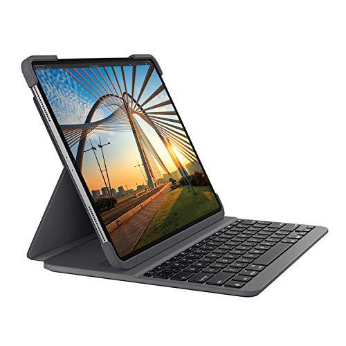 Logitech SLIM FOLIO für iPad der (7. Generation) Tastatur-Case mit Bluetooth (Modell: A2197, A2200, A2198), Deutsches QWERTZ-Layout- Grafit