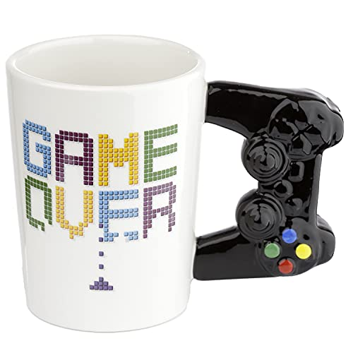 Puckator Controller Tasse Game Over mit 3D Controller am Henkel weiß, Bedruckt, 100% Keramik, in Geschenkverpackung.