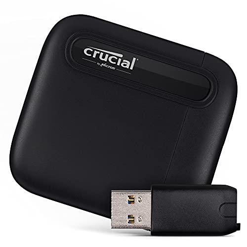 Crucial X6 1TB Portable SSD – Bis zu 540MB/s – USB 3.2 – USB-C - CT1000X6SSD9 + USB-C to USB-A Adapter – CTUSBCFUSBAMAD