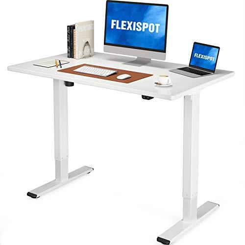Flexispot EG1 Höhenverstellbarer Schreibtisch Elektrisch 2-Fach-Teleskop mit Tischplatte (Weiß, 100 x 60 cm)