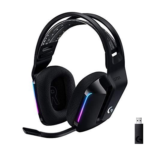 Logitech G733 LIGHTSPEED kabelloses Gaming-Headset mit Kopfbügel, LIGHTSYNC RGB, Blue VO!CE Mikrofontechnologie, PRO G Lautsprechern, Ultraleicht, 29-Stunden Akkulaufzeit, 20m Reichweite - Schwarz