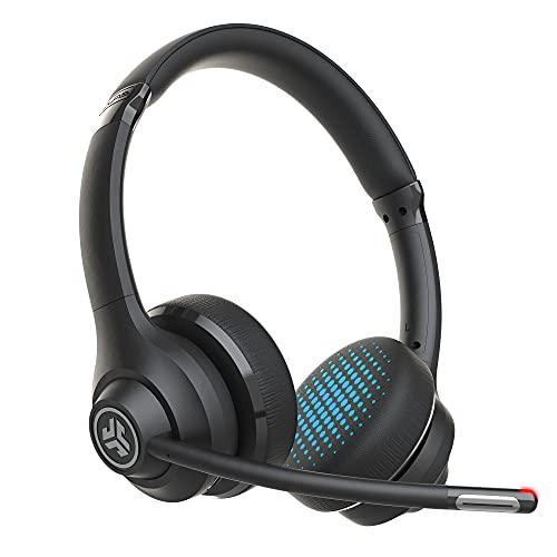 JLab Go Work, drahtloser Kopfhörer mit Mikrofon - PC-Headset mit 45+ Wiedergabezeit und Mehrpunkt-Verbindung über Bluetooth mit Computer und Handy - kabelgebundenes oder kabelloses Headset für Laptop