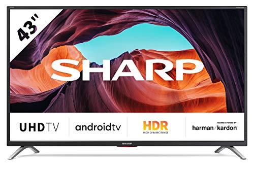 SHARP 43BL6EA Android TV 109 cm (43 Zoll) 4K Ultra HD LED Fernseher (Smart TV, Harman Kardon, Google Assistant) [Modelljahr 2019] Energieklasse g